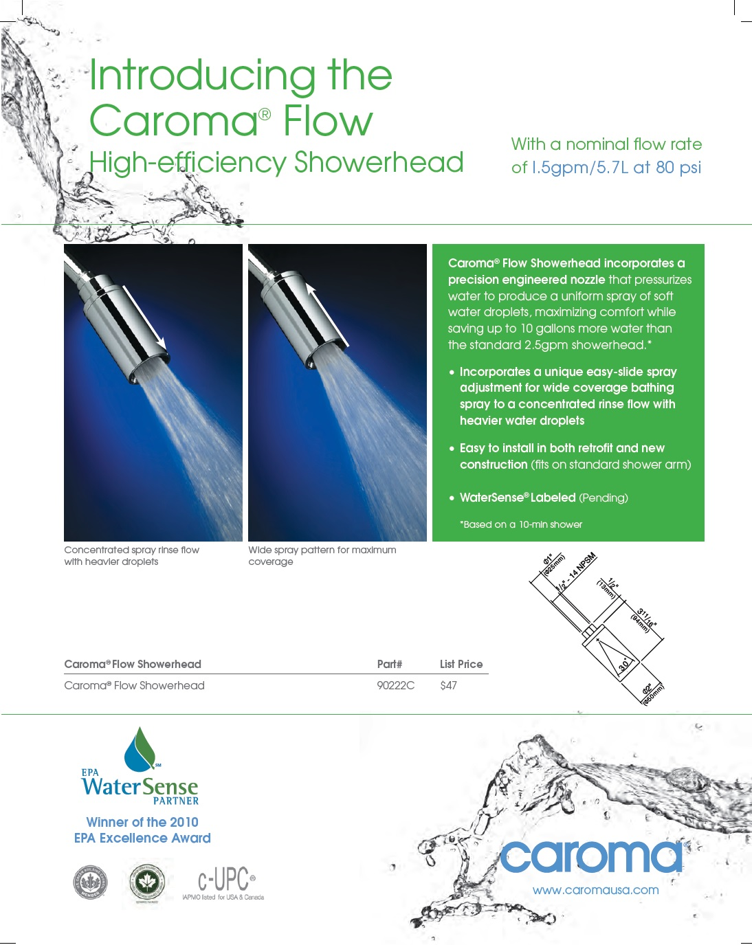 Caroma Flow Specs & Brochure